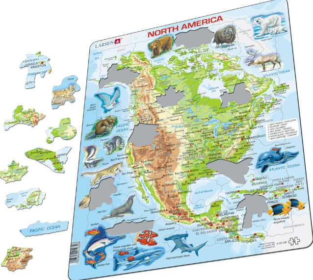 Map Of America Jigsaw.Map Of North America With Animals Frame Board Jigsaw Puzzle 29cm X