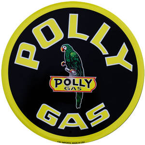 Polly Gas  300mm round metal sign (sf)