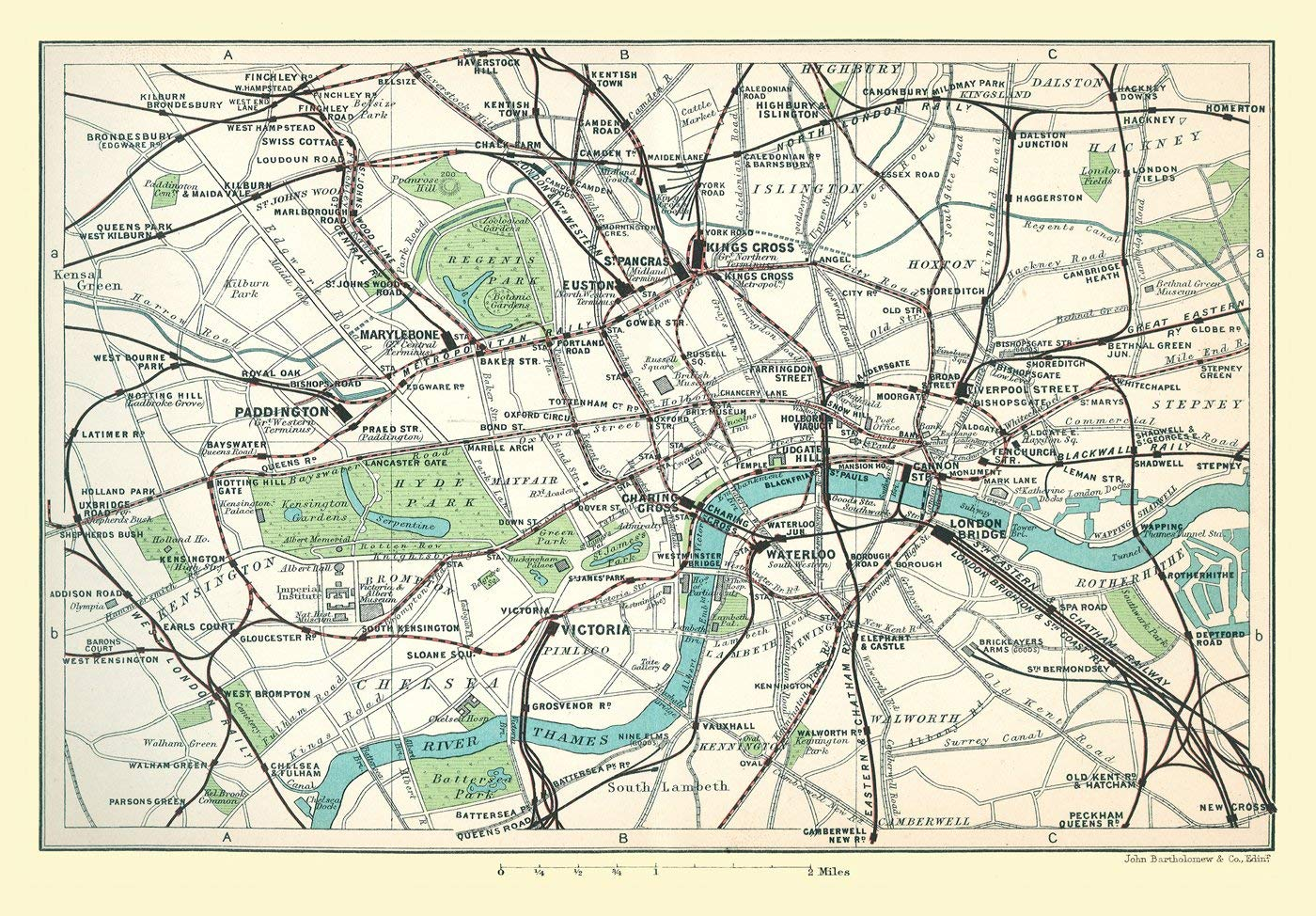 Map Of Central London To Print.Railway Map Of Central London 1908 1000 Piece Jigsaw Puzzle Jhg