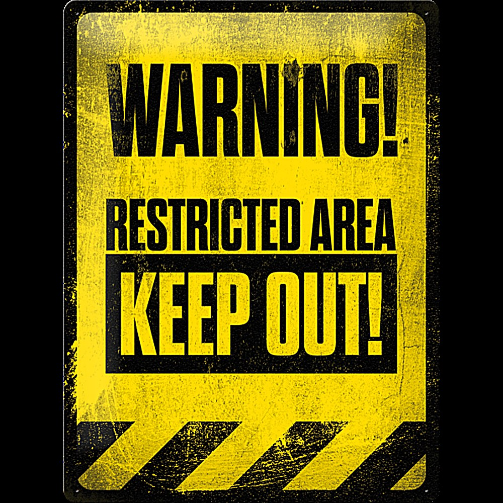Warning Restricted Area Keep Out Large Embossed Steel Sign