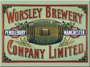 Worsley Brewery Manchester steel fridge magnet   (na ls)